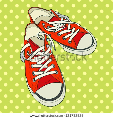 Hand drawn pair of red sneakers on the polka dot background. Vector illustration. - stock vector
