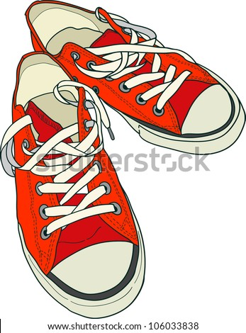 Hand drawn pair of red sneakers on white background. Vector illustration. - stock vector