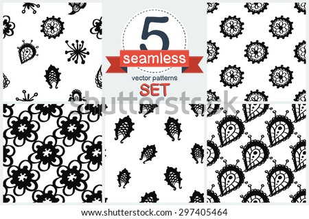 Hand Drawn paisley and mehendi floral graphic black line lace fringe, stamen, petal, teardrop, bud, daisy, circle decoration items on white background. Set of 5 vector seamless pattern. Chess grid. - stock vector