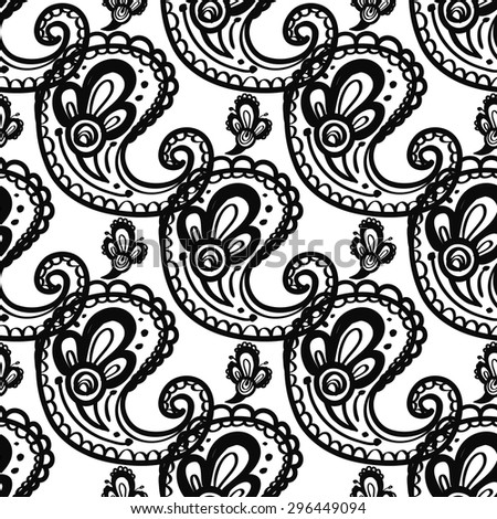 Hand Drawn paisley and mehendi graphic black line lace bud and pickle decoration items on white background. Set of isolated floral wedding decorative elements. Chess grid order