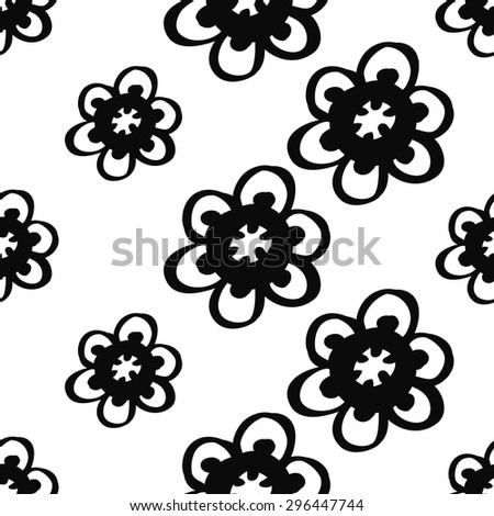 Hand Drawn paisley and mehendi graphic black line lace daisy decoration items on white background. Set of isolated floral wedding decorative elements. Chess grid order