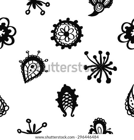 Hand Drawn paisley and mehendi graphic black line lace fringe, stamen, petal, teardrop, bud, daisy, circle decoration items on white background. Set of isolated floral wedding decorative elements. - stock vector