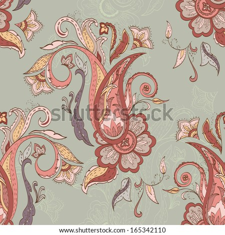 Hand-drawn paisley pattern. Floral  background. Vector illustration - stock vector