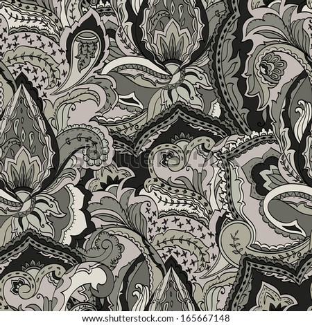 Hand-drawn paisley. Seamless background - stock vector