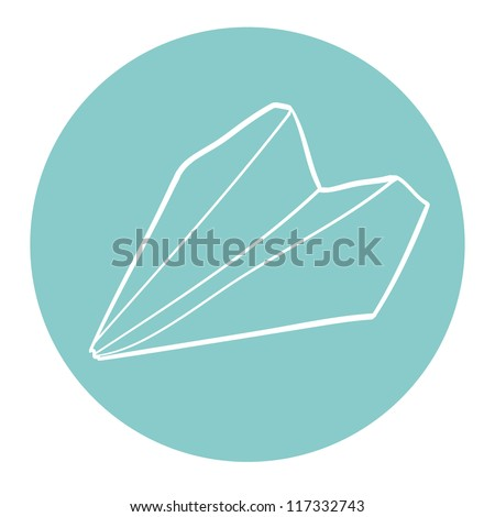 Hand drawn paper plane on the blue background. Vector illustration.