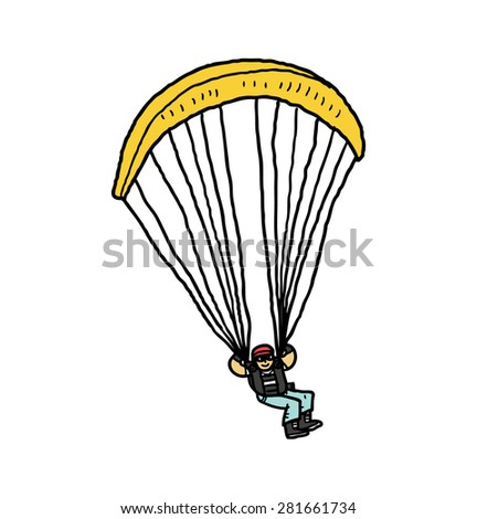 hand drawn paragliding - stock vector