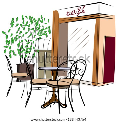 Hand Drawn Paris Cafe - stock vector