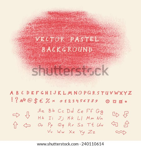 Hand drawn pastel banner. Vector background with sketchnote alphabet, numbers and symbols - stock vector