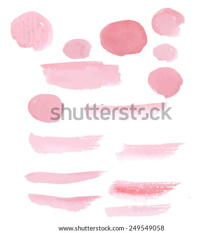 Hand drawn pastel color pink paint brushstroke watercolor - stock vector