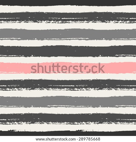 Hand drawn pastel pink, light and dark gray stripes seamless pattern. Horizontal brush strokes repeating vector texture. - stock vector