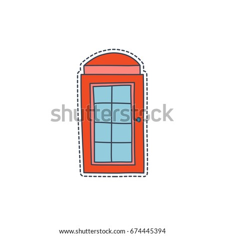 Hand drawn patch badges with United Kingdom symbol - red telephone booth. Sticker, pin and patch in cartoon 80s-90s comic style