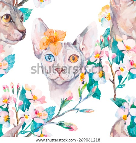 Hand drawn pattern Elegant Sphynx cat and tropical flower. Fashion portrait of cat.Sphinx. Spring pattern.Flowering branches. Watercolor. Vector. - stock vector