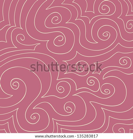 Hand drawn pattern of cream swirls and curves on a dusty rose pink background.
