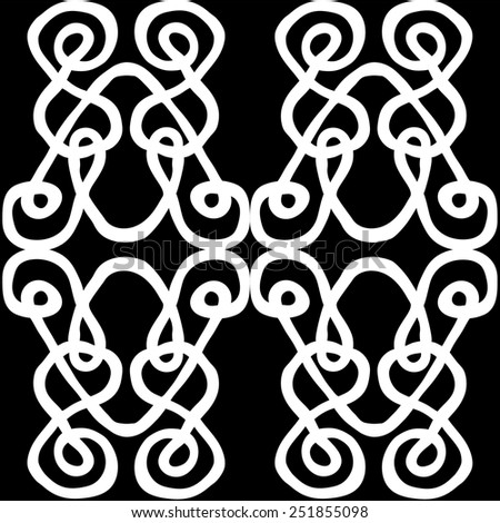 Hand drawn pattern tile on black background with ornamental motives in Celtic style. Vector illustration. - stock vector