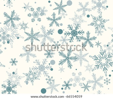 Hand drawn pattern with christmas snowflakes - stock vector