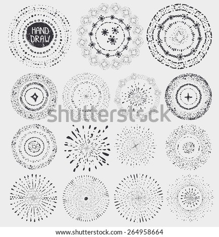 Hand drawn pattern wreath, burst .Doodle decor,artistic stroke brushes,point texture,drop.For design template, invitations, holiday, Christmas,baby design.Sketched Vector - stock vector