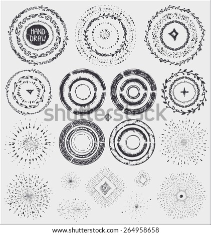 Hand drawn pattern wreath,frame burst .Doodle decor,artistic brushes,point,drop .For design template, invitations, holiday, wedding,baby design.Sketched Vector
