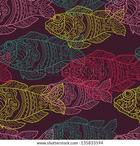 Hand drawn patterned fishes seamless pattern. Endless aquatic background - stock vector
