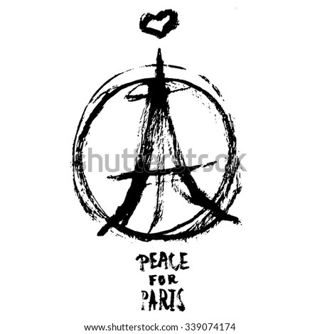 Hand drawn peace for Paris illustration of pray hands, pray for Paris with words. - stock vector