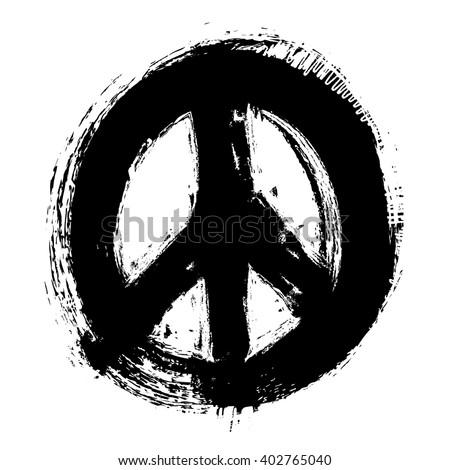 hand drawn peace symbol, vector illustration design element - stock vector