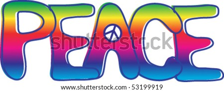 Hand drawn PEACE text in rainbow gradient with peace sign