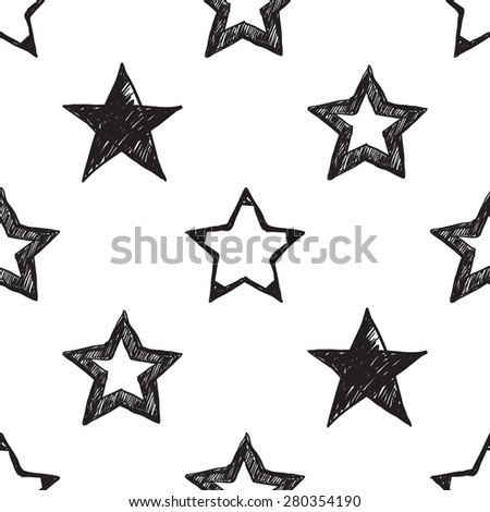 Hand drawn pen and ink shaded, stroke, whole stars seamless patterns. Set of isolated decorative symbols and elements in some shapes and designs. Black outline sketch on white background - stock vector