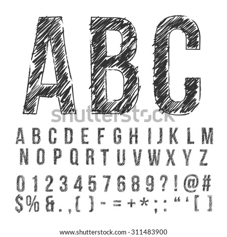 Hand drawn pencil sketched font: letters, numbers and symbols, vector - stock vector