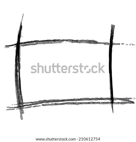 Hand drawn pencil square frame. Vector design element