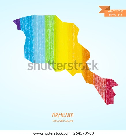 hand drawn pencil stroke map of Armenia isolated. Vector version - stock vector