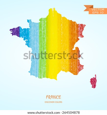 hand drawn pencil stroke map of France isolated. Vector version - stock vector