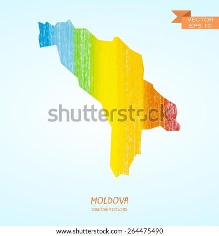 hand drawn pencil stroke map of Moldova isolated. Vector version - stock vector
