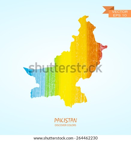 hand drawn pencil stroke map of Pakistan isolated. Vector version - stock vector