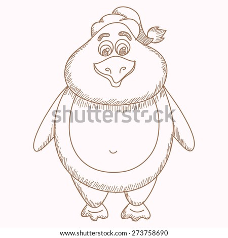 Hand drawn penguin in hat, pencil drawing of fatty penguin, vector illustration - stock vector