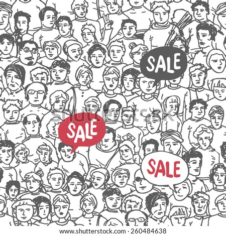 Hand Drawn People Crowd Seamless pattern with Sale Label - stock vector