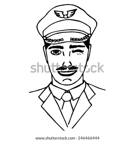 Hand-drawn pilot. Doodle. Isolated. vector illustration - stock vector