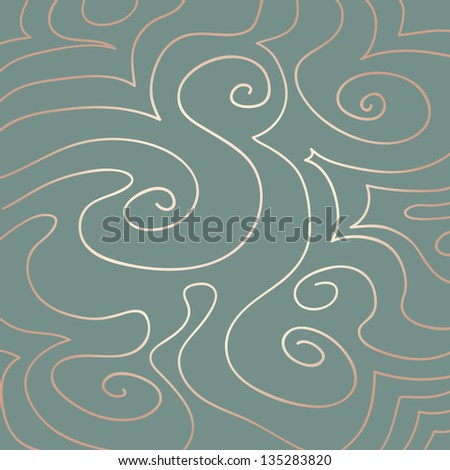 Hand drawn pink pearly pattern of swirls and curves on a duck egg blue background.