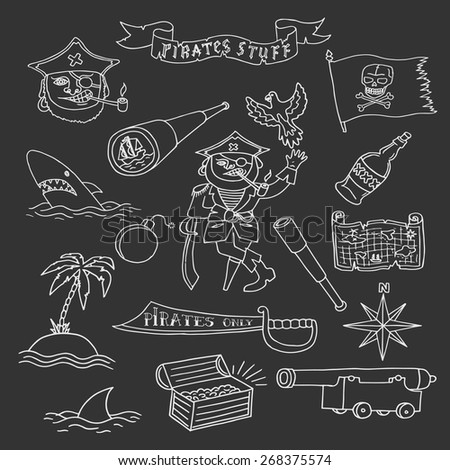 Hand drawn pirate objects collection. Vector illustration. Isolated.