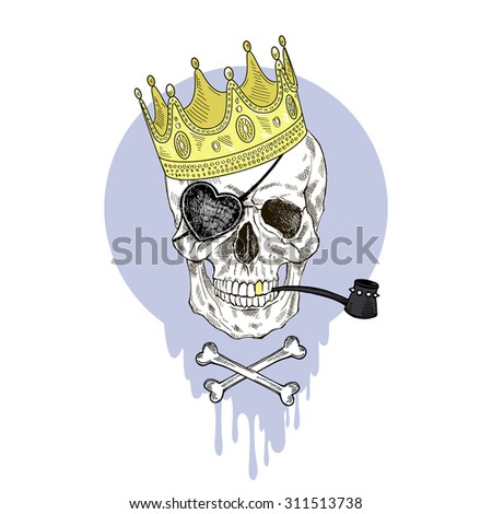 hand drawn pirate scull in golden crown, nautical design, t-shirt graphic - stock vector