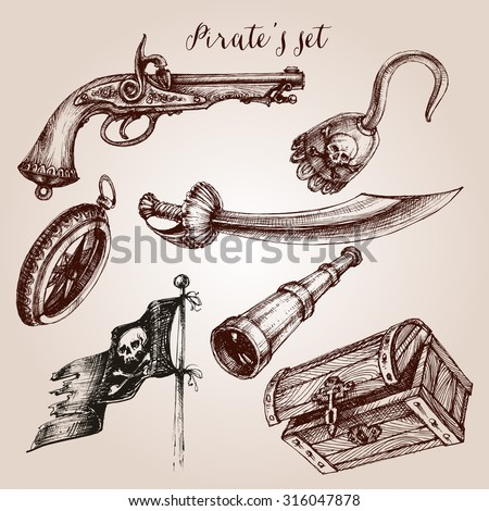 Hand drawn pirate set of design elements - stock vector