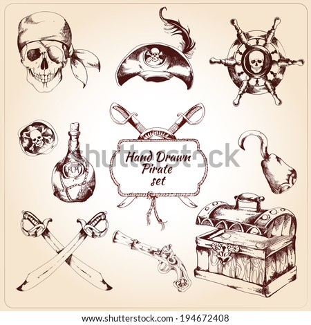 Hand drawn pirates decorative icons set of treasure chest steering wheel and rum bottle isolated vector illustration - stock vector