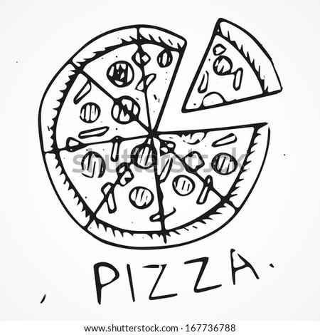 Hand drawn pizza - stock vector