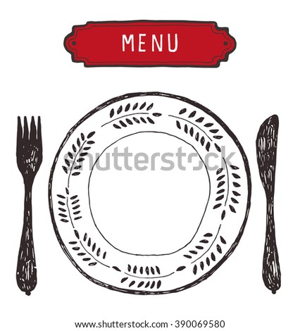 hand drawn plate with cutlery - stock vector