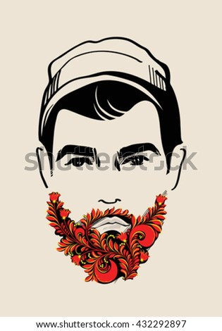 Hand drawn portrait of bearded hipster. Traditional Russian Style