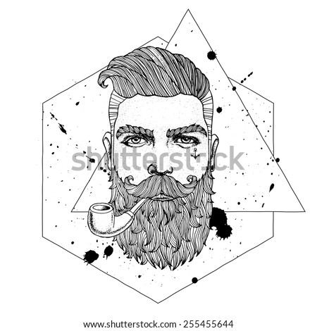 Hand drawn portrait of bearded hipster with tobacco pipe  - stock vector
