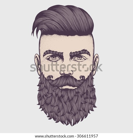 Hand drawn portrait of bearded man full face. Vector illustration