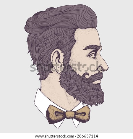Hand drawn portrait of bearded man side-view. Vector illustration.