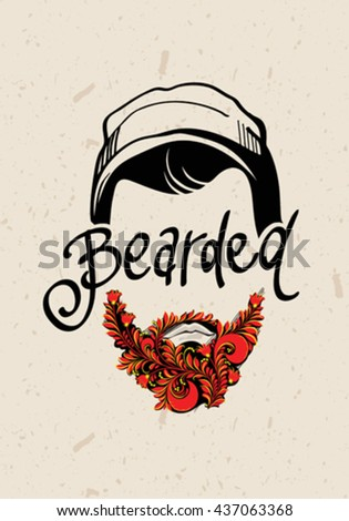 Hand drawn portrait of bearded man.Vintage design poster with text Bearded. Traditional Russian Style