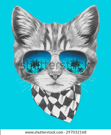 Hand drawn portrait of Cat with mirror sunglasses and scarf. Vector isolated elements. - stock vector
