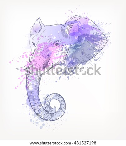 Hand Drawn portrait of elephant with watercolor blots.  - stock vector
