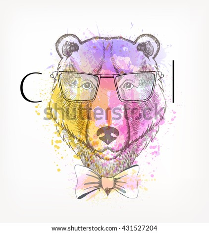 Hand Drawn portrait of hipster bear with watercolor blots. Cool - stock vector